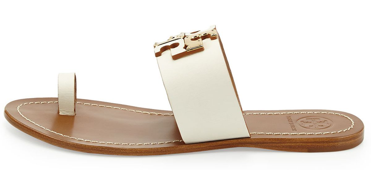 1acf1c8a368fce Lyst - Tory Burch Lowell Leather Logo Sandal in Natural
