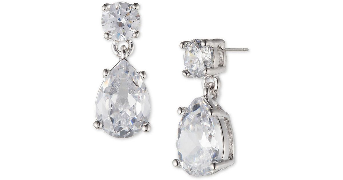 Lyst Marchesa Double Drop Pear Shaped Cubic Zirconia Earrings In Metallic