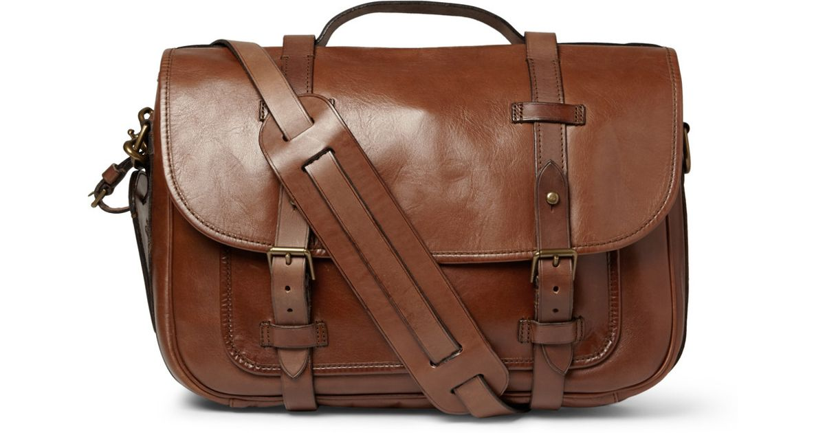 e490b316f447 Polo Ralph Lauren Leather Messenger Bag in Brown for Men - Lyst
