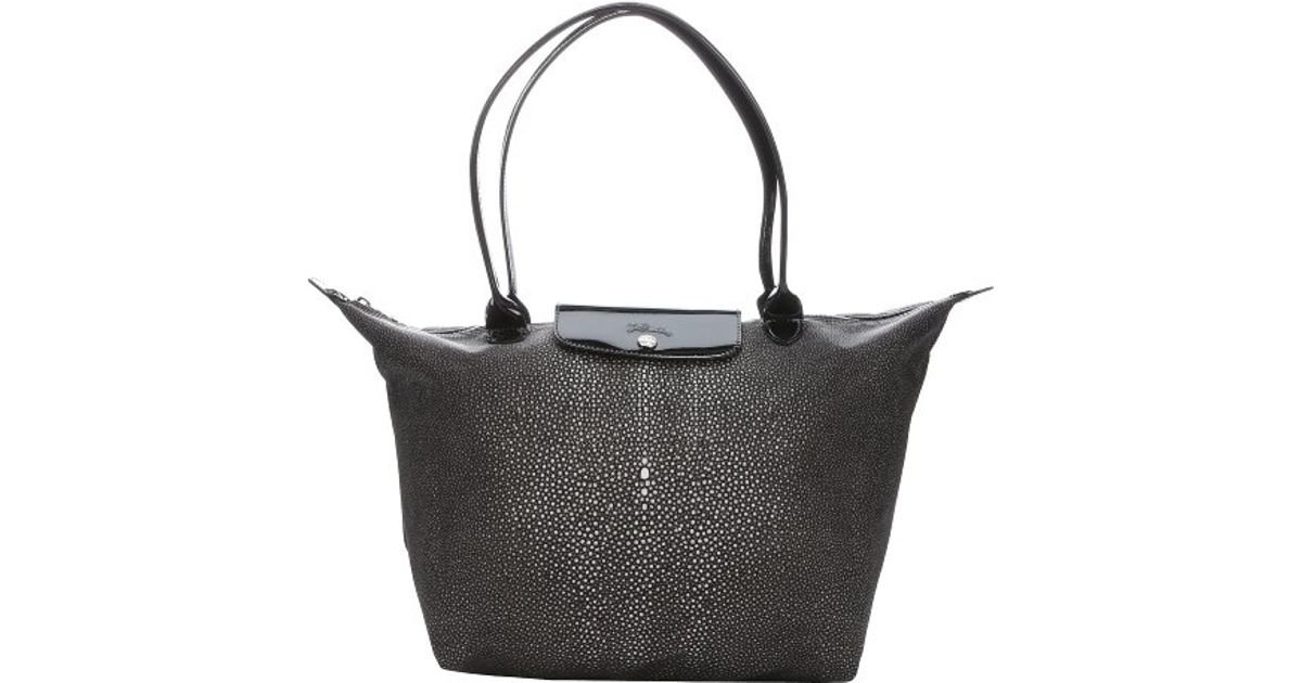 Longchamp Black And Charcoal Printed Nylon  Le Pliage Nã©O Fantaisie  Large  Tote in Black - Lyst 8ea32a2a99bbf