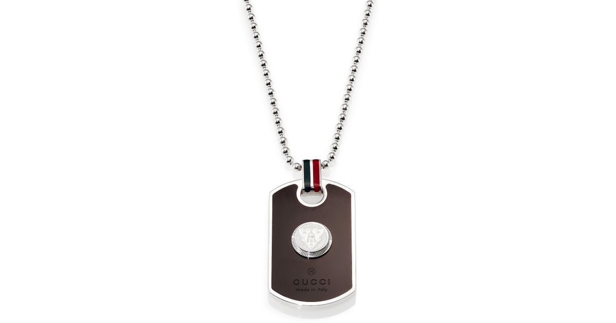 02092f4e3 Gucci Dog Tag Necklace in Metallic for Men - Lyst