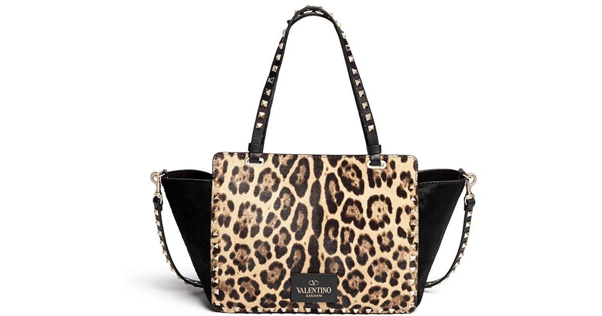 36414e92b652 Valentino 'rockstud' Small Leopard Print Calf Hair Tote - Lyst