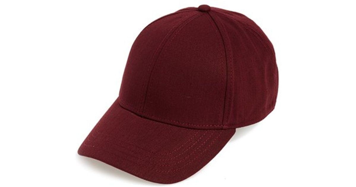 Lyst - TOPMAN Herringbone Baseball Cap - Burgundy in Purple for Men ae46687b7