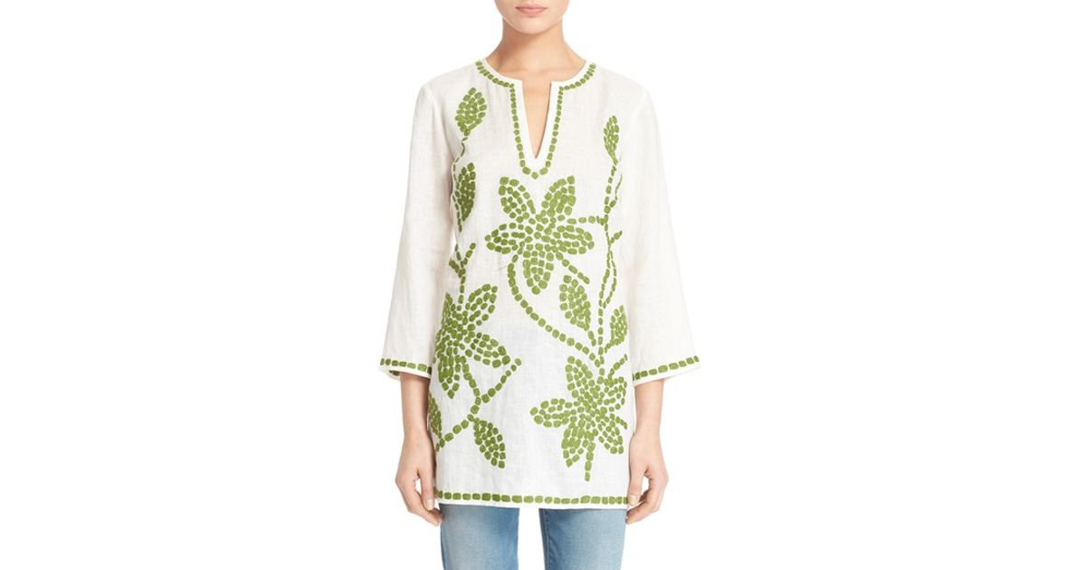 ced589a1b99e33 Lyst - Tory Burch Embroidered Linen Tunic in Red