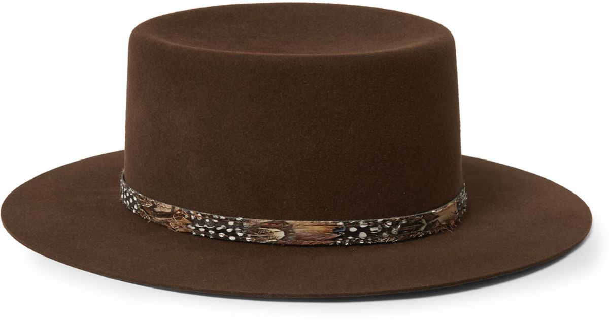 2604d5b51 Saint Laurent Brown Feather-Trimmed Rabbit-Felt Fedora Hat for men