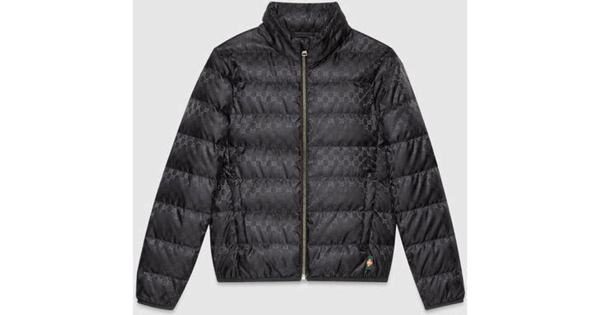 02c7debddd Gucci Black Gg Jacquard Quilted Nylon Jacket for men