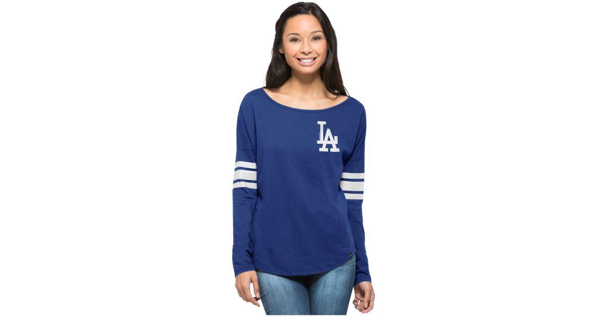 47 Brand Blue Women's Long-sleeve Los Angeles Dodgers Courtside T-shirt