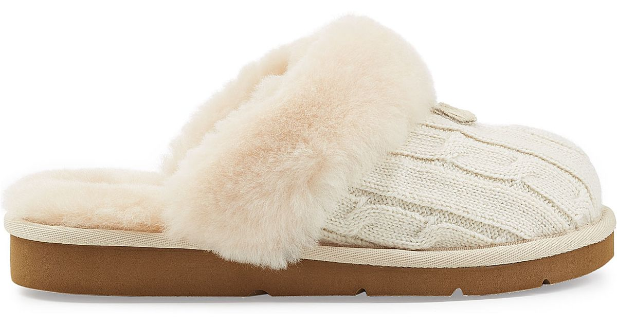 fd0a58d2666 UGG Natural Cozy Knit Slippers With Wool And Sheepskin - White