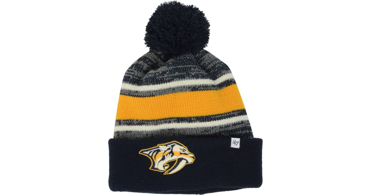 best loved 32975 84eb6 ... nhl team knit cap 3a79f 0871d  official store lyst 47 brand nashville  predators fairfax pom knit hat in blue for men 1673c