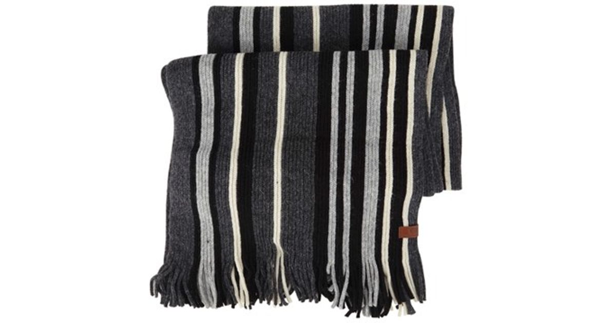 Ben sherman Vertical Stripe Knit Scarf in Multicolor for Men (JET BLACK) Lyst