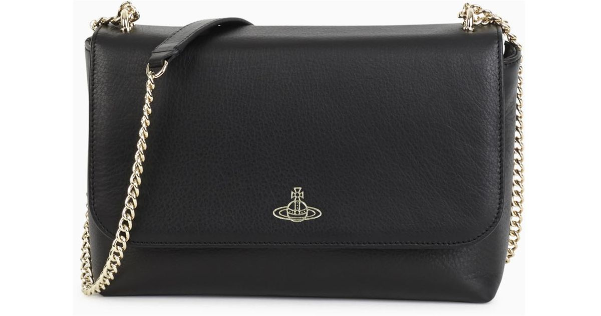 62e374f8b879 Vivienne Westwood Spencer Black Leather Shoulder Bag in Black - Lyst
