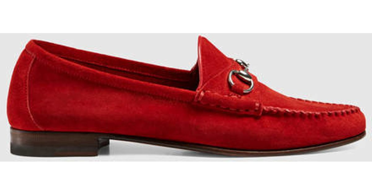 Gucci Suede Horsebit Loafer in Pink - Lyst