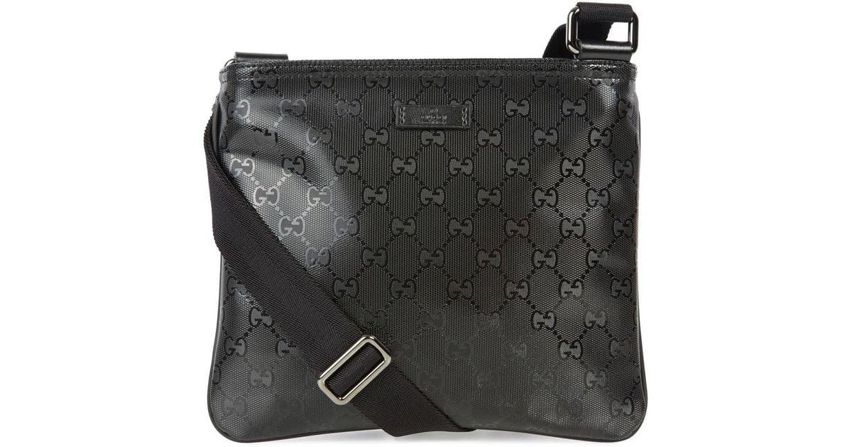380e4051ebb Gucci Black Monogrammed Coated Canvas Messenger Bag in Black for Men - Lyst