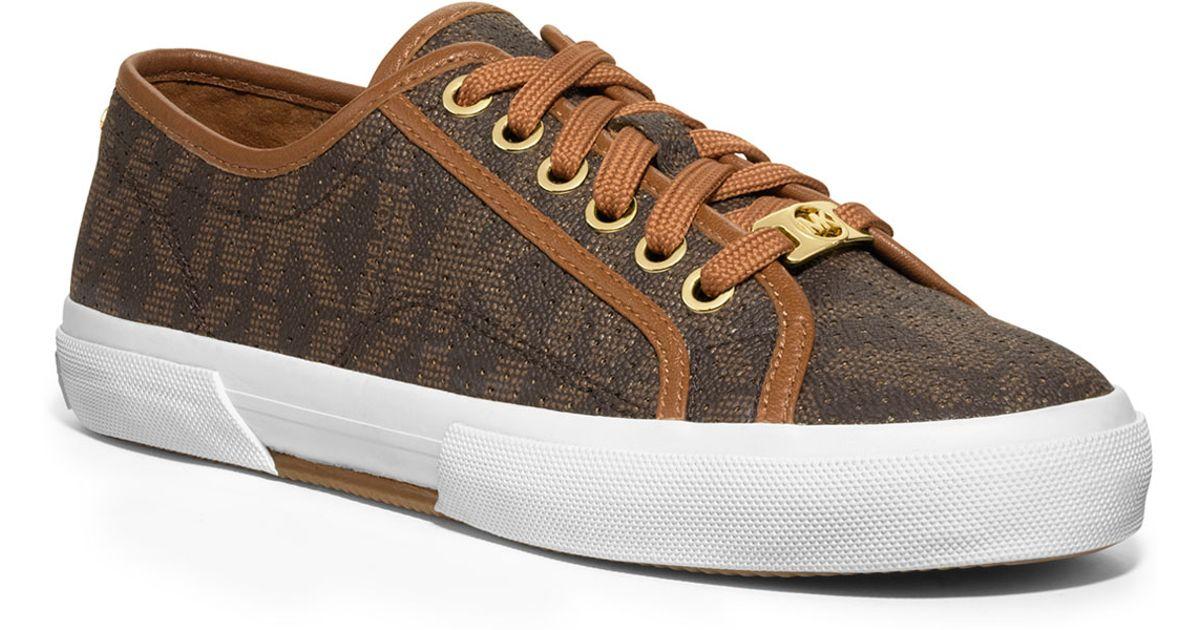 c132d5cd09d63 Lyst - Michael Kors Boerum Perforated Logo Sneaker in Brown