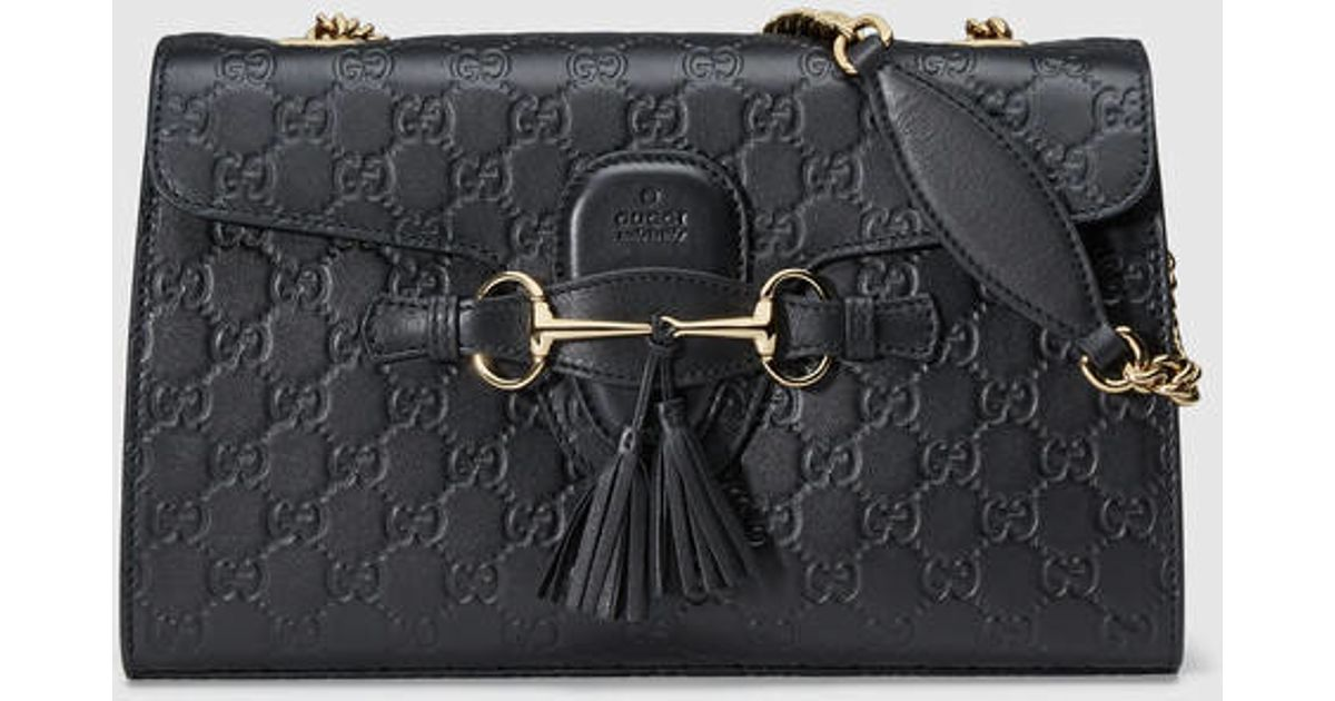 83694f56404 Lyst - Gucci Emily Ssima Chain Shoulder Bag in Black
