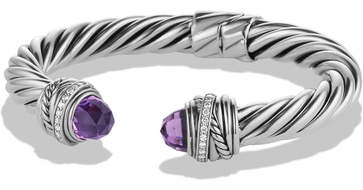 Lyst David Yurman Crossover Bracelet With Amethyst Diamonds In Metallic