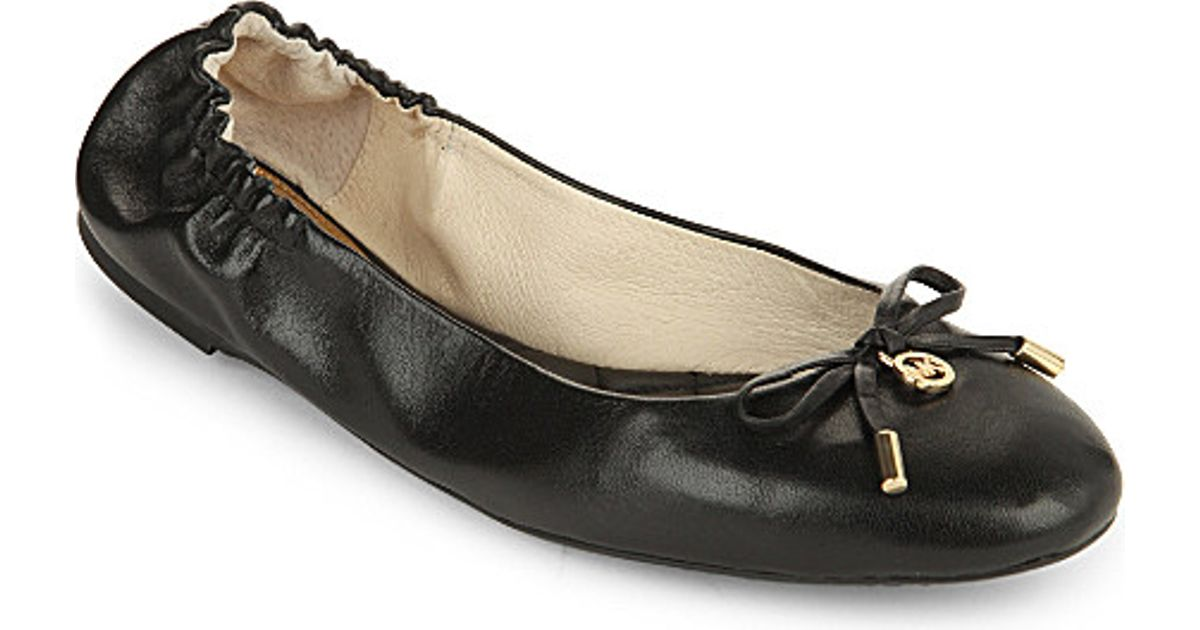 5887ca775f55 Lyst - MICHAEL Michael Kors Melody Leather Ballet Flats in Black