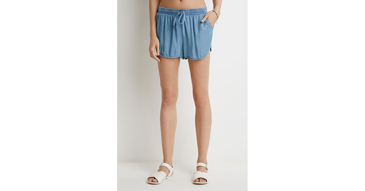 Forever 21 Chambray Dolphin Shorts in Blue (Light denim) | Lyst