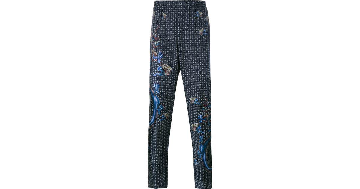 4d61141412 Lyst - Dolce   Gabbana Dragon Print Silk Pyjama Trousers in Black for Men