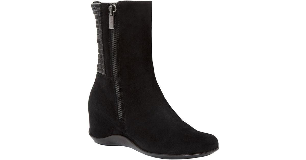 aquatalia velma suede wedge boots in black lyst