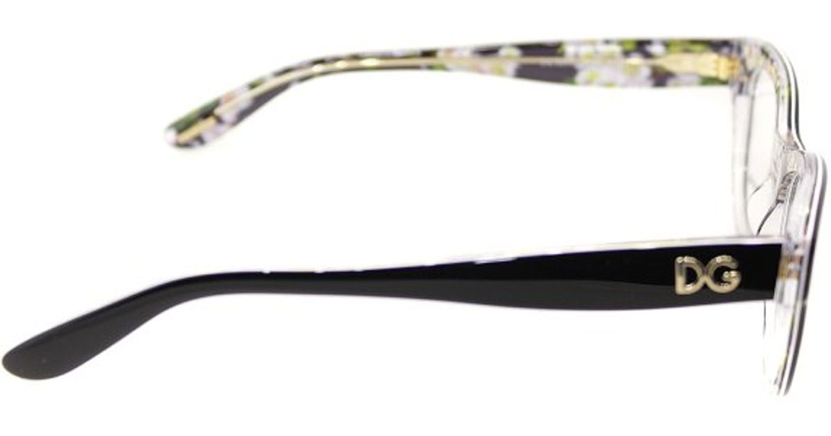 6e66160f48 Lyst - Dolce   Gabbana Dg3203 2840 Black On Black Peach Flowers Limited  Edition Plastic Cat Eye Eyeglasses-51Mm in Black