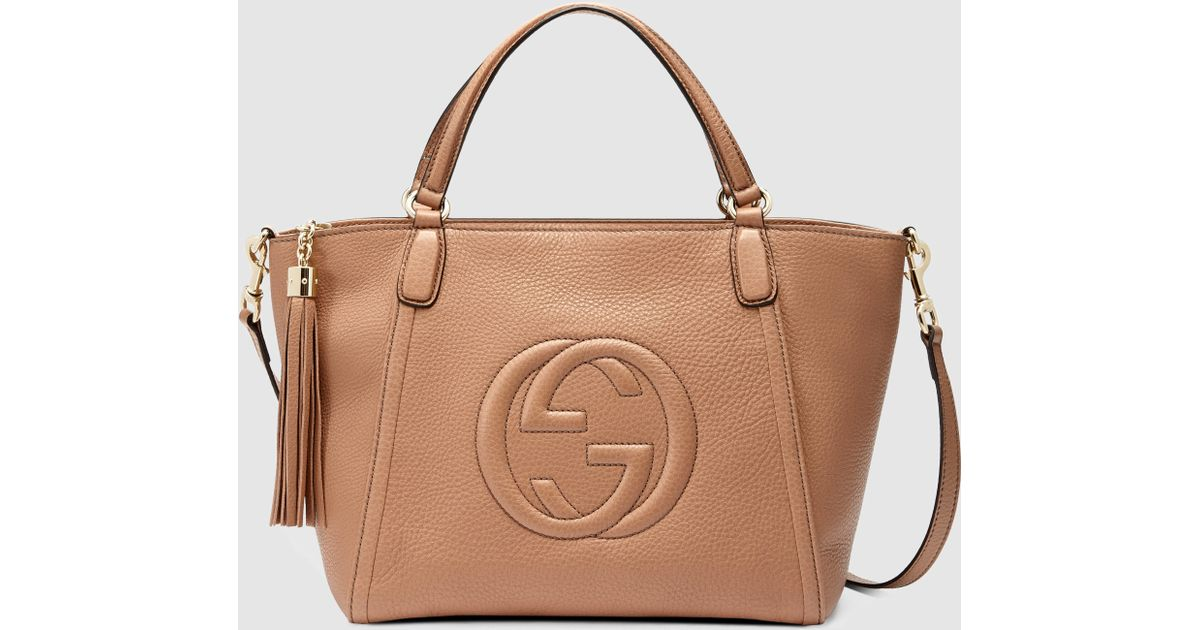bd74c8845e Gucci Natural Soho Leather Top Handle Bag