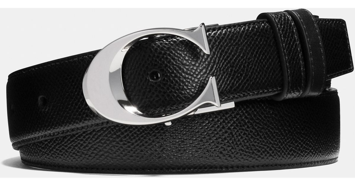 2c139b1df2 COACH Black Sculpted C Cut-to-size Reversible Textured Leather Belt