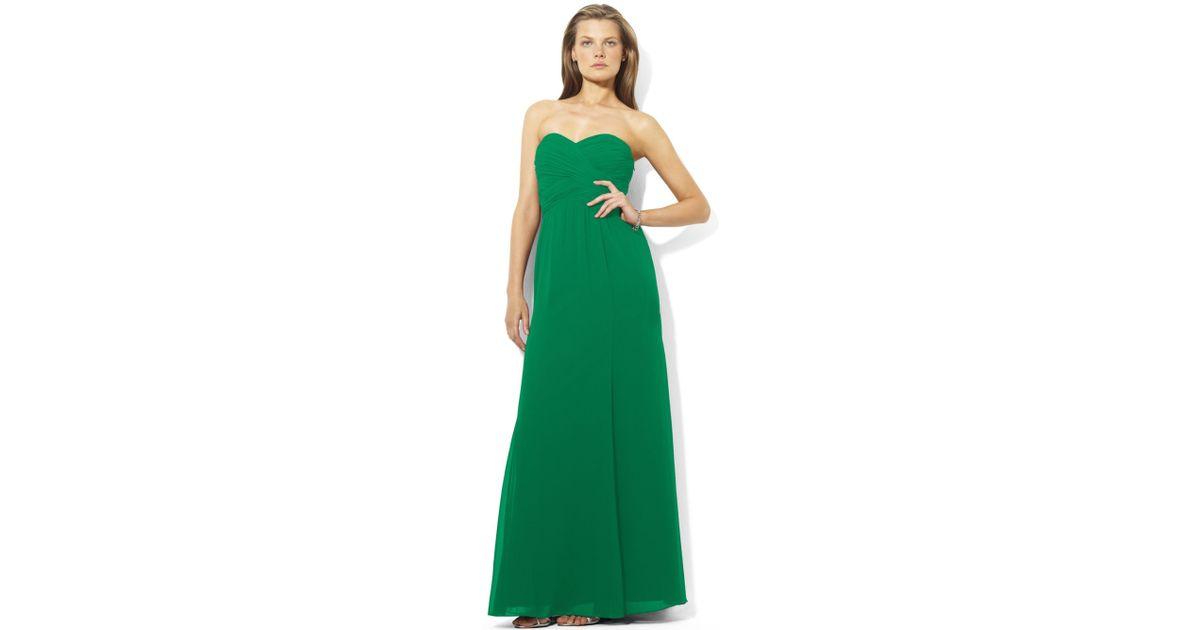 Lyst - Lauren By Ralph Lauren Strapless Evening Gown in Green