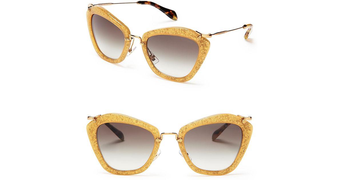 bb26c1f33a37 Lyst - Miu Miu Glitter Noir Cat Eye Sunglasses in Yellow