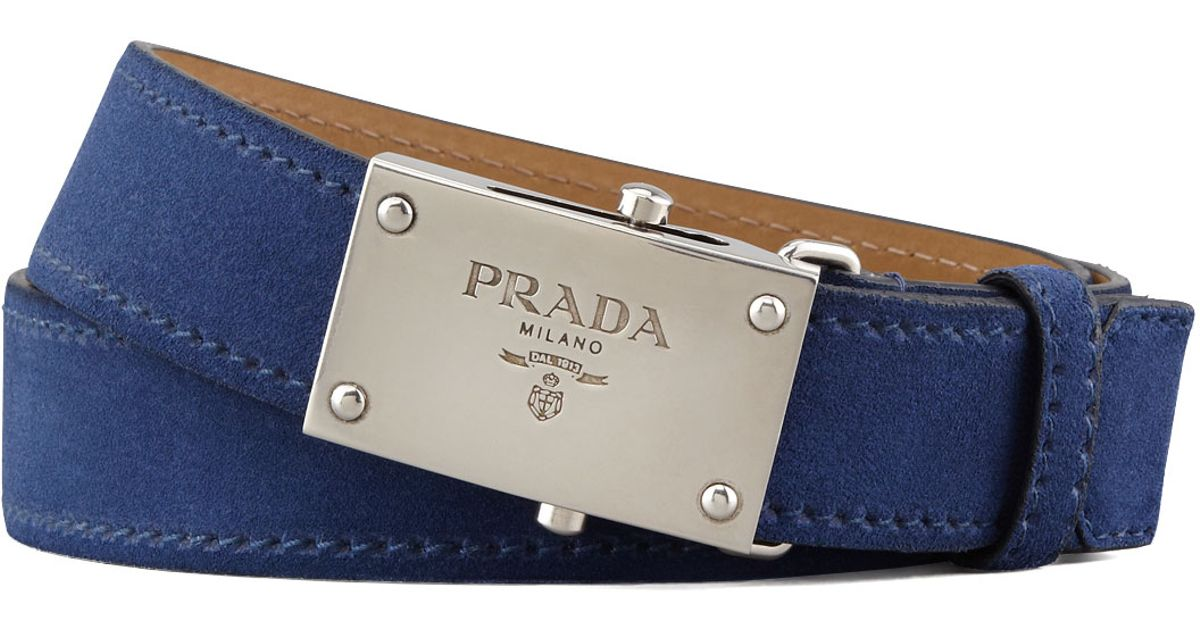 Prada Navy Suede Logo Bkle Belt Navy 36 in Blue for Men (navy) | Lyst
