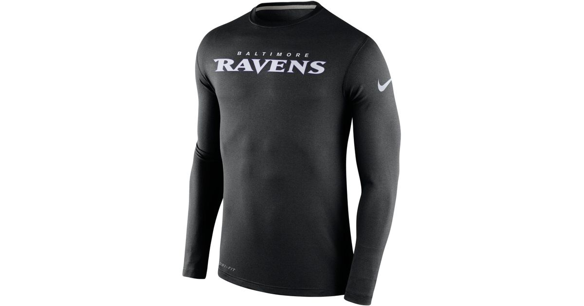 Nike men 39 s long sleeve baltimore ravens dri fit touch t for Under armour dri fit long sleeve shirts
