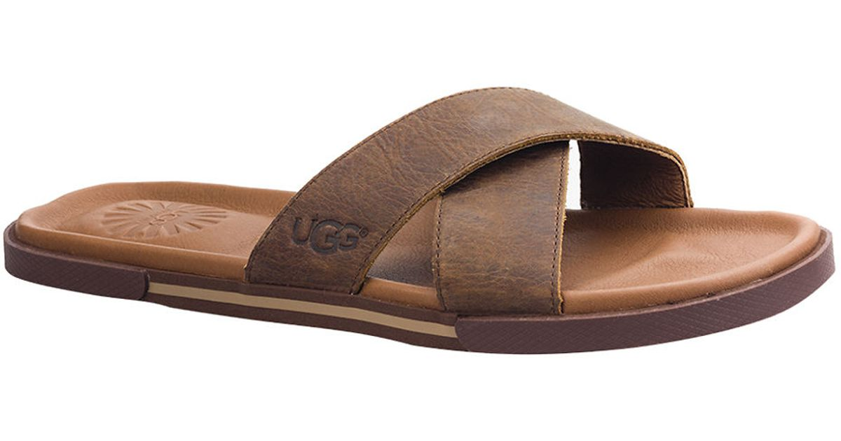 7059b8944928 Lyst - Ugg Ithan Leather Slide Sandals in Brown for Men