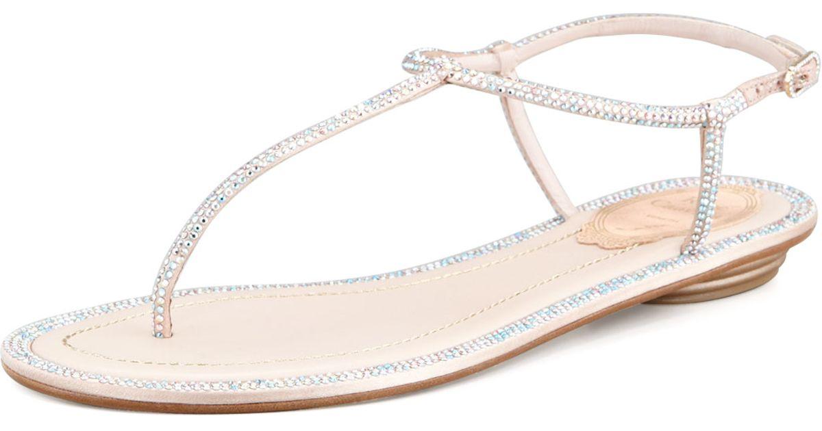 Crystal Sandals Caovilla Embellished Thong Rene Natural I9Y2EDWH