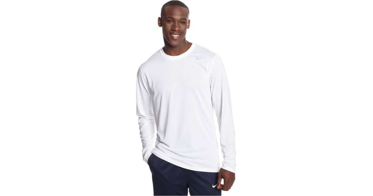 c4456280 Nike Legend Long-Sleeve Dri-Fit T-Shirt in White for Men - Lyst