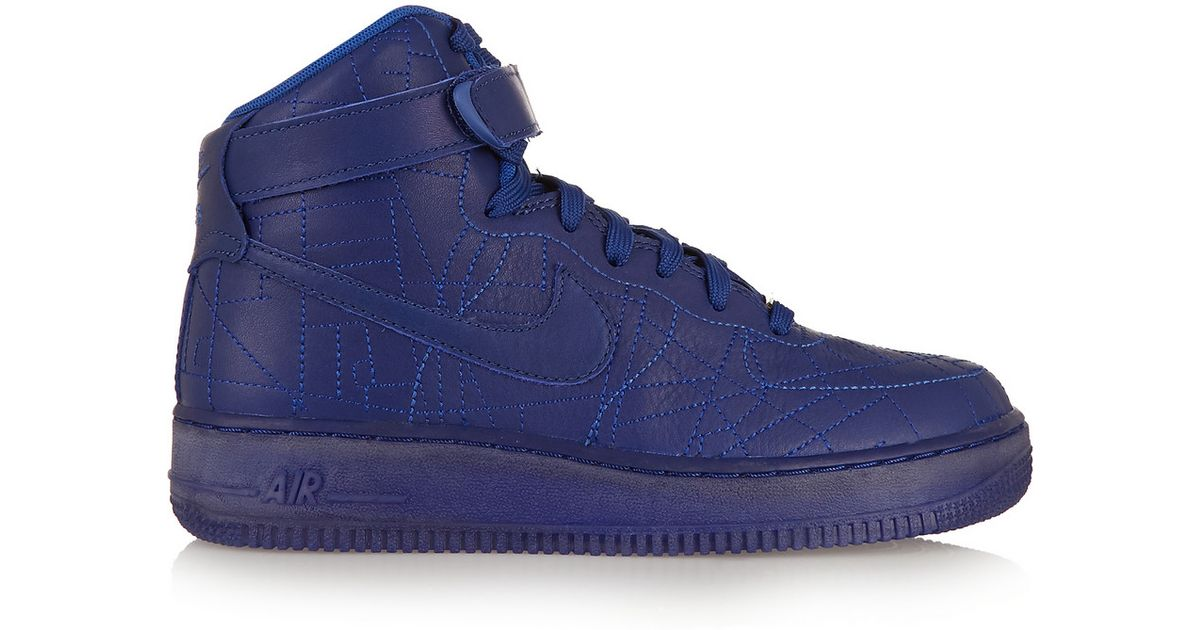 best service 90c0d 2d72c Nike Blue Air Force 1 Paris Leather High-Top Sneakers