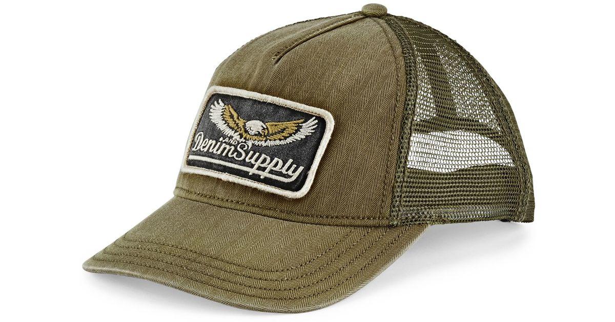 8ac705f5676ee Denim   Supply Ralph Lauren Herringbone Trucker Hat in Green for Men - Lyst