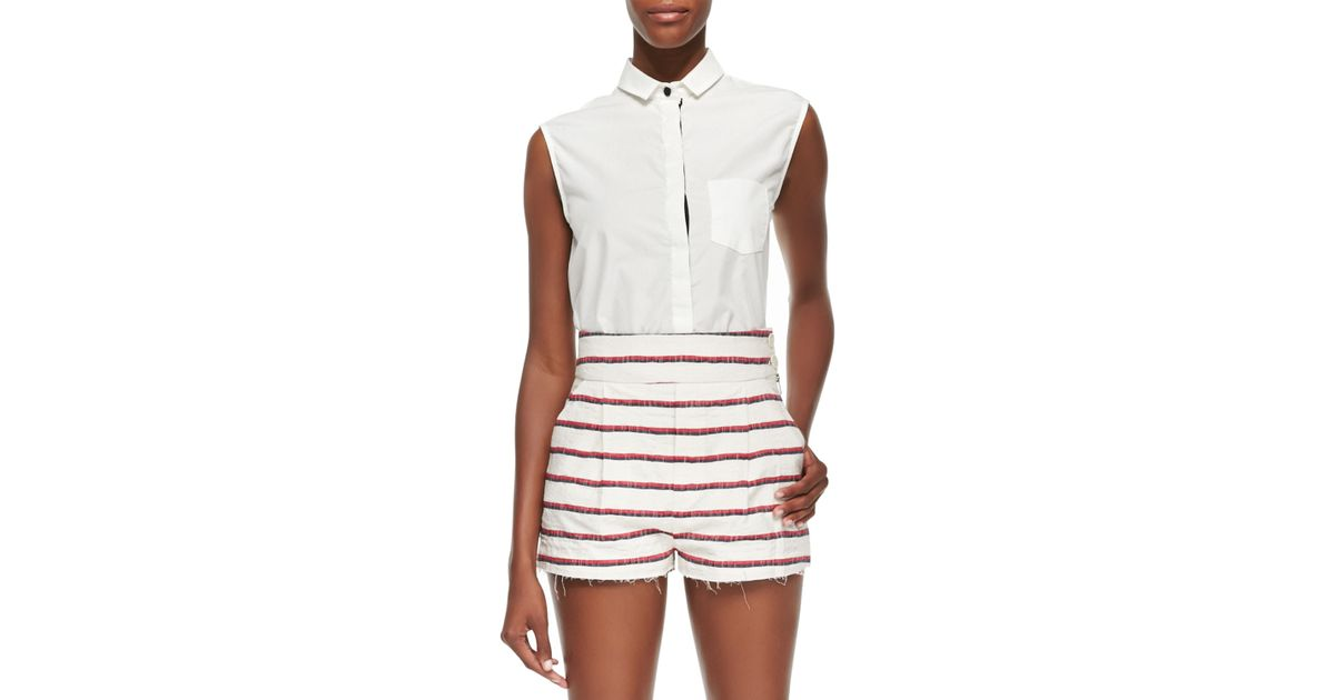 Band of outsiders white sleeveless shirt with collar in for Sleeveless white shirt with collar