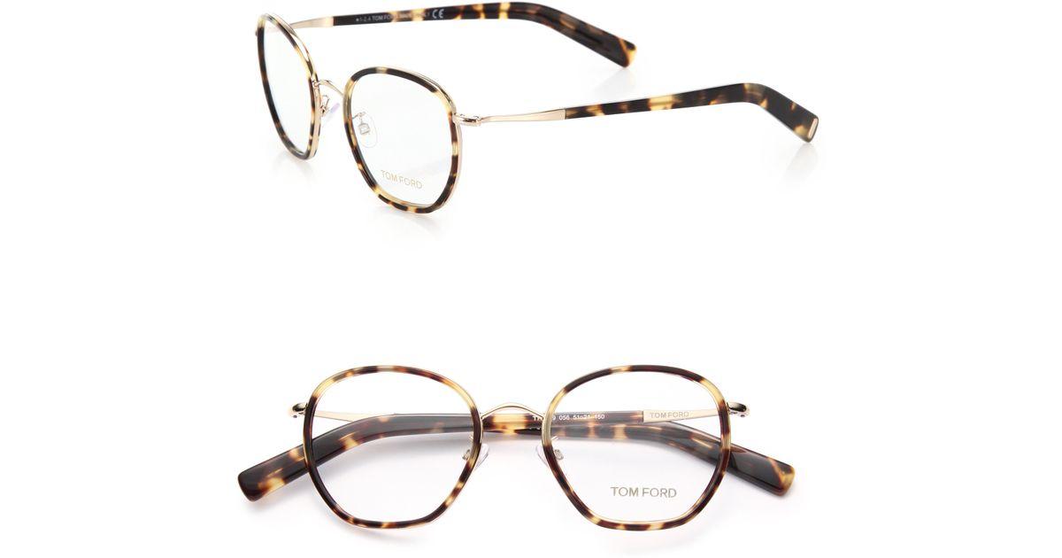 94c2baab3fc Lyst - Tom Ford 51mm Round Acetate   Metal Optical Glasses in Brown