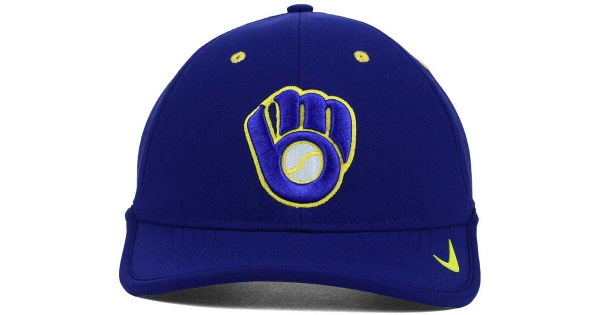 d59fec5f ... low price lyst nike milwaukee brewers vapor swoosh adjustable cap in  blue for men 686c5 f92e3