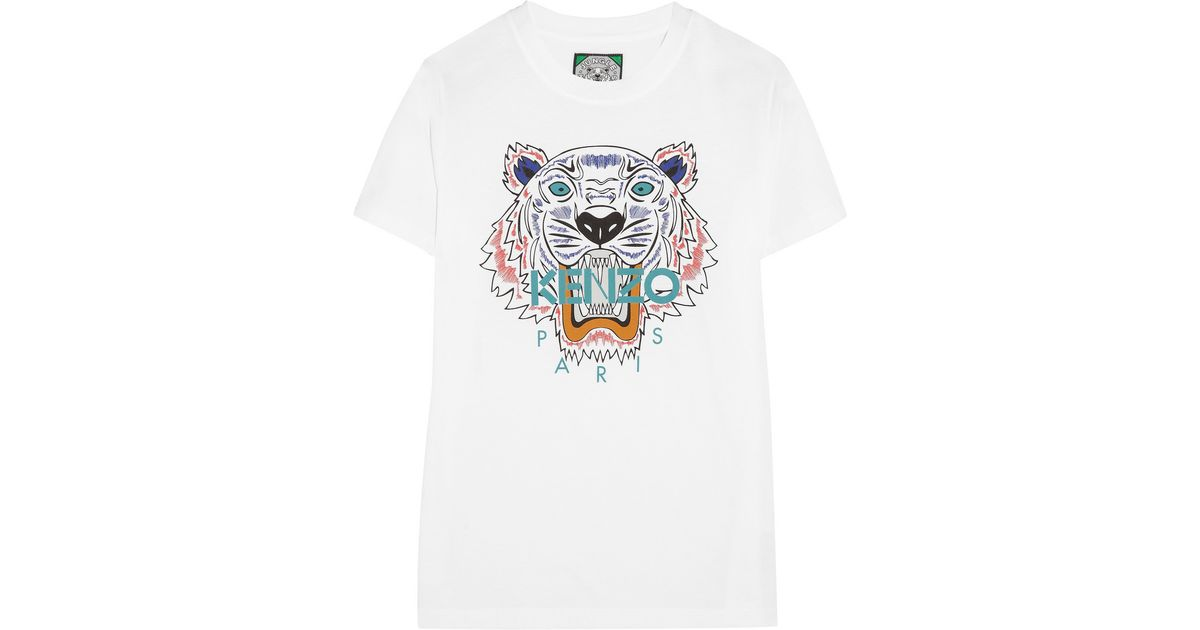 8478cf735d7f3 KENZO Tiger Cotton-Jersey T-Shirt in White - Lyst