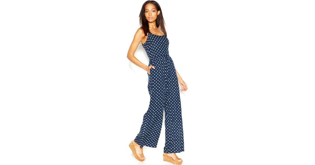 edd6c1b3e10 Lyst - Maison Jules Polka-Dot Jumpsuit in Blue