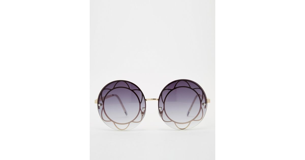 2336c29fafe Lyst - ASOS Oversized Round Sunglasses With Flower Inset Metal in Metallic