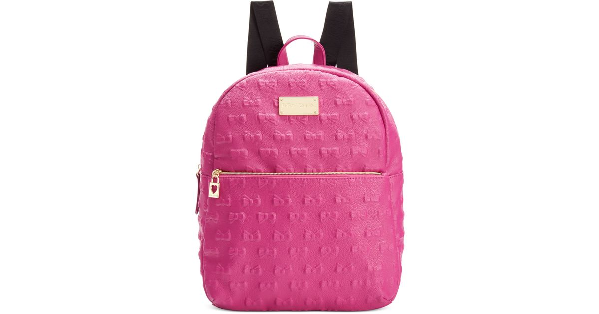 14eb5466e179 Lyst - Betsey Johnson Macy s Exclusive Debossed Bow Mini Backpack in Pink