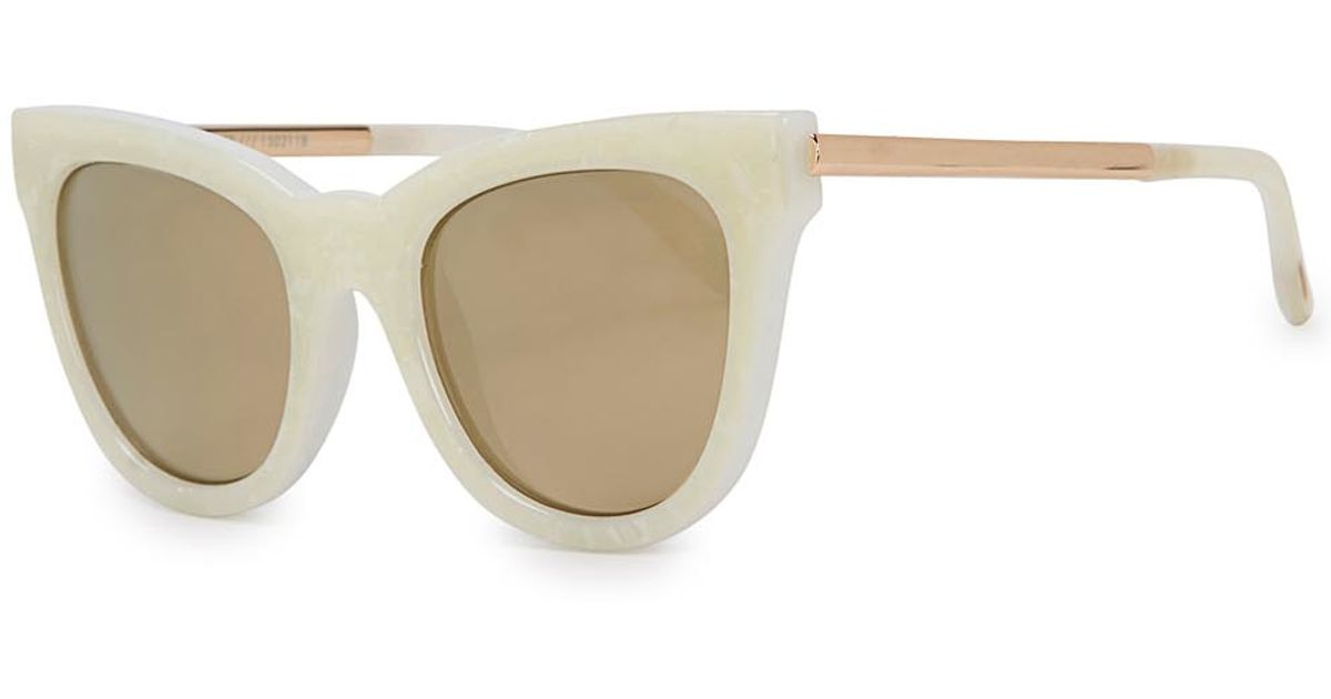 4a4a017c41 Le Specs Le Debutante Ivory Mirrored Cat-eye Sunglasses in White - Lyst