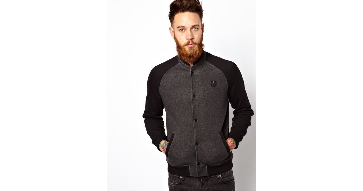 The Kooples Sport Zip Sweat Varsity Jacket In Grey Gray