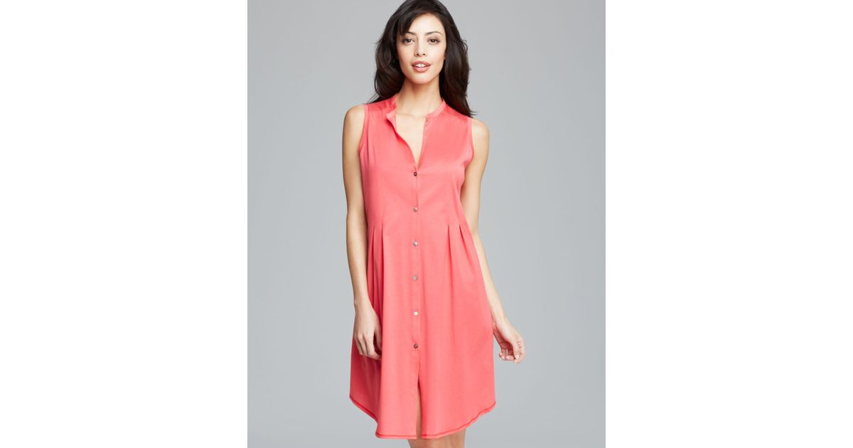 Lyst - Hanro Nightgown Button Front Tank in Pink