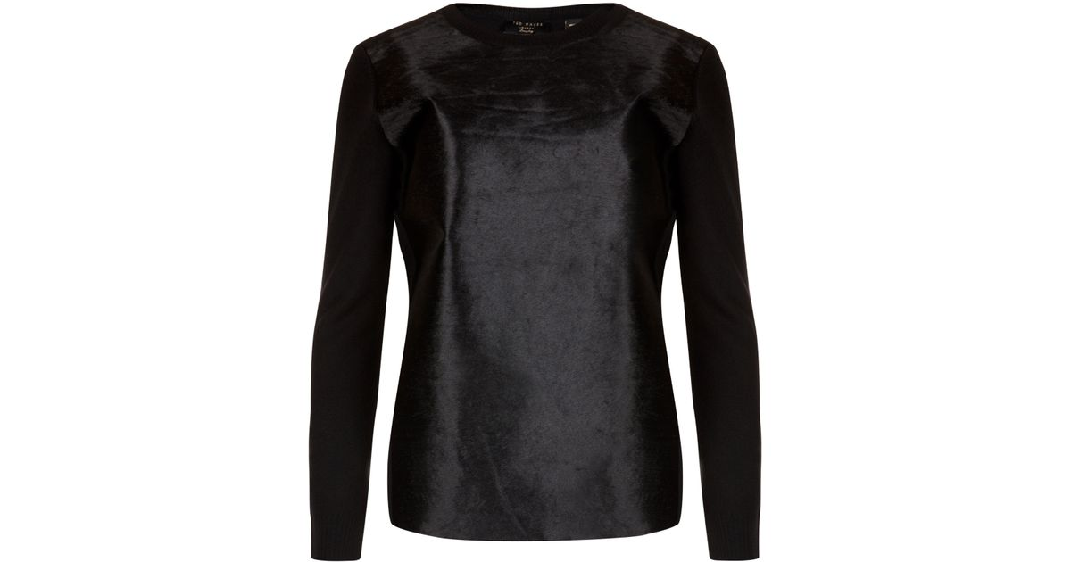 112c6139a Lyst - Ted Baker Pony Skin Effect Leather Sweater in Black