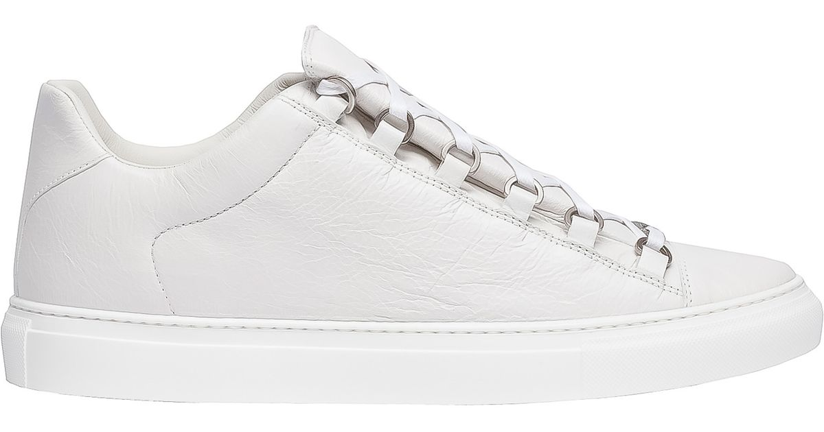 balenciaga arena leather low top trainers in white lyst. Black Bedroom Furniture Sets. Home Design Ideas