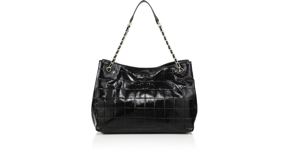 000020d7123 Lyst - Tory Burch Marion Quilted Patent Leather Chain Shoulder Bag in Black