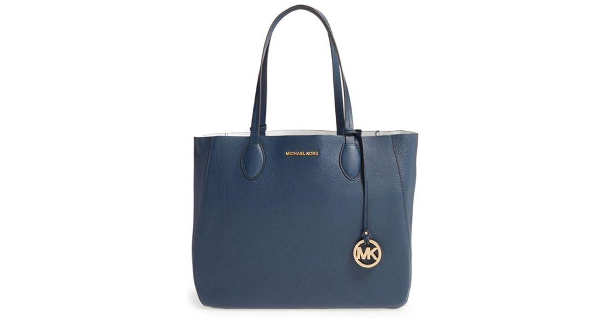103385b83d ... usa lyst michael michael kors large mae reversible leather tote in blue  04d1c b682c